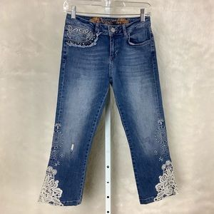 Desigual Lace Embroidered Crop Jeans Light Wash